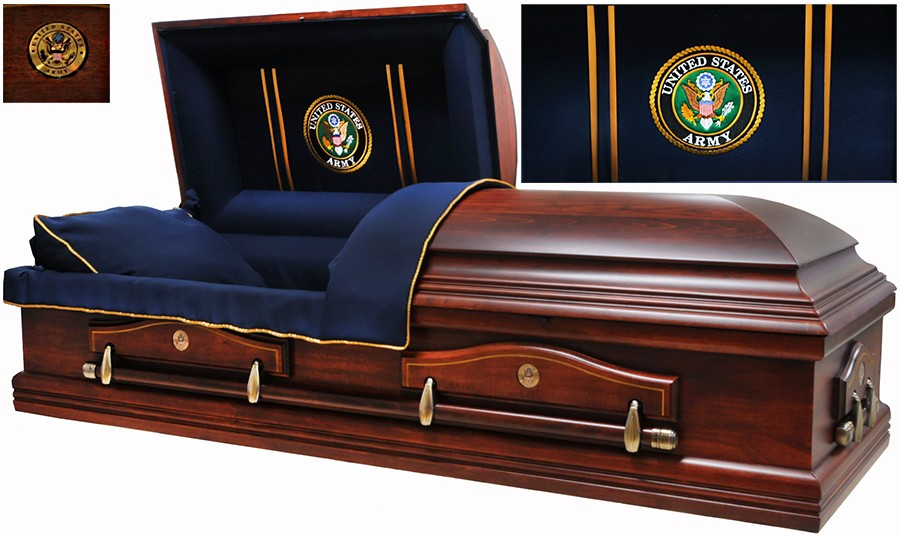7860 Army Casket Solid Poplar Navy Blue Interior Also